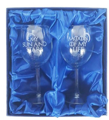 "Game of Thrones Inspired ""My Sun and Stars, Moon of My Life"" Pair of Wine Glasses"
